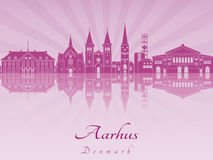 Aarhus skyline in purple radiant orchid. In editable vector file Stock Illustration