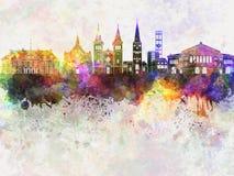 Aarhus skyline in watercolor. Background Royalty Free Stock Image