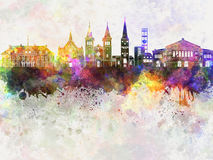 Aarhus skyline in watercolor. Background Royalty Free Stock Image