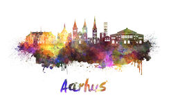 Aarhus skyline in watercolor. Splatters with clipping path royalty free illustration