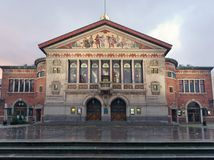 Aarhus Theater - Square Bispetorvet at dawn. Denmark. royalty free stock photo