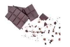Aarkchocoladereep in stukken royalty-vrije stock afbeeldingen