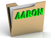 AARON- bright green letters on gold paperwork folder Royalty Free Stock Photos