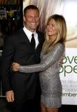 Aaron Eckhart e Jennifer Aniston Foto de Stock Royalty Free