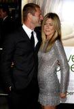 Aaron Eckhart y Jennifer Aniston Fotos de archivo libres de regalías