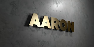 Aaron - Gold sign mounted on glossy marble wall - 3D rendered royalty free stock illustration. This image can be used for an online website banner ad or a vector illustration