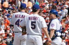 Aaron Heilman, David Wright and Catcher Paul LoDuca royalty free stock image