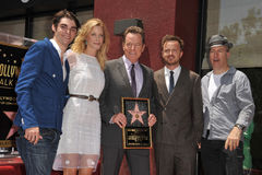 Aaron Paul,Anna Gunn. Breaking Bad cast R.J. Mitte (left), Anna Gunn, Bryan Cranston, Aaron Paul and Rob Odenkirk on Hollywood Walk of Fame where Bryan Cranston Royalty Free Stock Photography