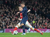 Aaron Ramsey e Marco Verratti Fotos de Stock Royalty Free