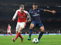 Aaron Ramsey and Marquinhos Royalty Free Stock Image