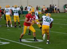 Aaron Rodger, Cedric Benson of Green Bay Packers Stock Images