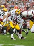 Aaron Rodgers consigue despedido en el juego de hoy del comodín del NFL Foto de archivo