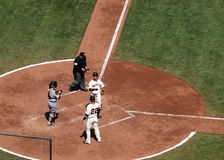 Aaron Rowand celebrates a home run at homeplate Stock Images