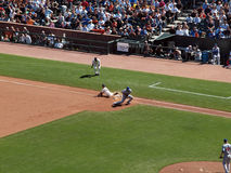 Aaron Rowand slides hands first though first Royalty Free Stock Photos