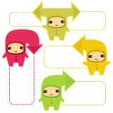 Aarrows kids 1. Funny kids in costumes of communication arrows with space for your text vector illustration
