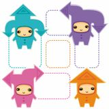 Aarrows kids 2. Funny kids in costumes of communication arrows  with space for your text Stock Images