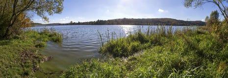 Aartal lake dam hesse germany high definition panorama. Aartal lake dam in hesse germany high definition panorama Stock Photos