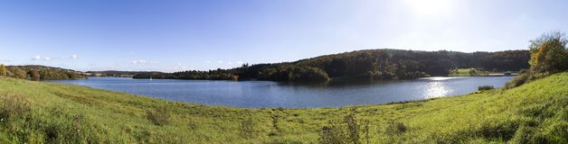 Aartal lake dam hesse germany high definition panorama. Aartal lake dam in hesse germany high definition panorama Royalty Free Stock Photography