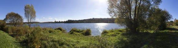 Aartal lake dam hesse germany high definition panorama. Aartal lake dam in hesse germany high definition panorama Royalty Free Stock Photo