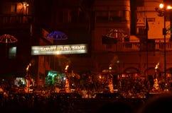 Aarti仪式在恒河在瓦腊纳西,印度 免版税库存照片