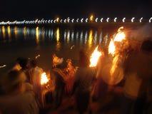 Aarti de Sarayu nos bancos do rio Sarayu Foto de Stock Royalty Free