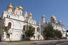 Aartsengel en Aankondigingskathedraal, het Kremlin, Moskou, Rusland. Stock Foto
