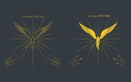Aartsengel Michael Christelijk Symbool Het overzicht en gekleurd vult vector illustratie