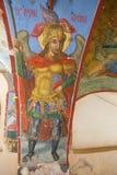 Aartsengel Michael - oude fresko XVIXVII eeuwen in het ontwerp van de Kathedraal van Virgin van het Teken Znamensky Veli stock afbeeldingen