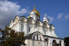 Aartsengelskerk van Moskou het Kremlin De Plaats van de Erfenis van de Wereld van Unesco stock afbeelding