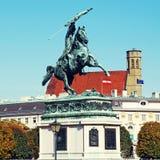 Aartshertog Charles van het Standbeeld van Oostenrijk (Wenen, Oostenrijk) royalty-vrije stock foto