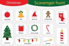 Aaseterjacht, Kerstmis thuis, verschillende kleurrijke beelden voor kinderen, het onderzoeksspel van het pretonderwijs voor jonge royalty-vrije illustratie