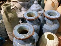 Authentic vintage jug, jar and vases of clay. Top view royalty free stock photography