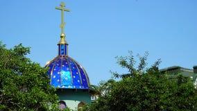 Abóbada azul da igreja ortodoxa filme