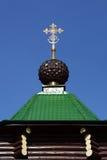 A abóbada com cruz do russo Christian Gate Church ortodoxo em Ganina Yama Imagens de Stock