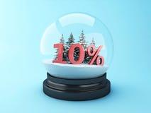 abóbada da neve 3d com árvores e disconto do vermelho 10% Fotografia de Stock Royalty Free