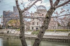 Abóbada de Genbaku, Sakura Blooming Fotos de Stock Royalty Free
