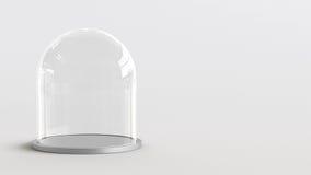 Abóbada de vidro com a bandeja de prata no fundo branco rendição 3d Imagem de Stock