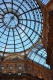 Abóbada do vidro de Vittorio Emanuele II da galeria Foto de Stock