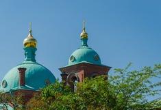 Abóbadas bonitas da igreja ortodoxa contra o céu azul Skete da ressurrei??o do monast?rio de Valaam Igreja do imagem de stock