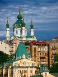 Abóbadas da igreja de St Andrew em Kiev Imagem de Stock