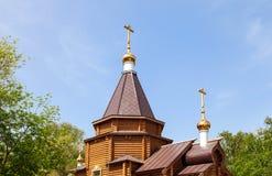 Abóbadas da igreja ortodoxa de madeira Fotos de Stock Royalty Free