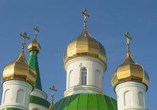 Abóbadas do templo ortodoxo Foto de Stock Royalty Free