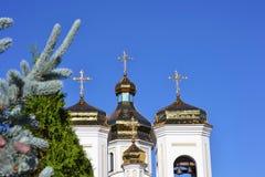Abóbadas douradas Svyatogo Nikolaya Chudotvortsa Fotos de Stock