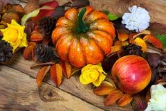 A abóbora alaranjada da ação de graças, maçã, cones do pinho envolve-se, fecha-se acima Fotos de Stock