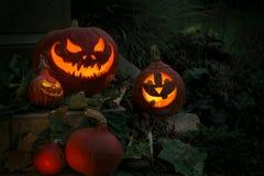Abóbora assustador de Dia das Bruxas em uma noite Imagem de Stock Royalty Free