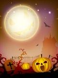Abóbora assustador na noite de Halloween. Foto de Stock