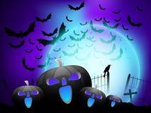Abóbora assustador no fundo da noite de Halloween. Imagens de Stock