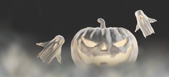 Abóbora branca de Dia das Bruxas 3d-illustration Dia das Bruxas com fantasmas ilustração royalty free