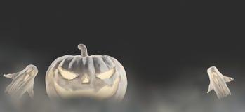 Abóbora branca de Dia das Bruxas 3d-illustration Dia das Bruxas com fantasmas ilustração stock