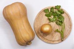 Abóbora, cebola, coentro e uma placa de corte em um fundo branco foto de stock